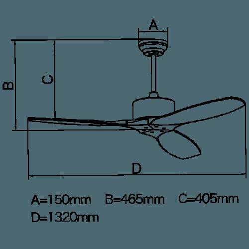 kích thước quạt trần
