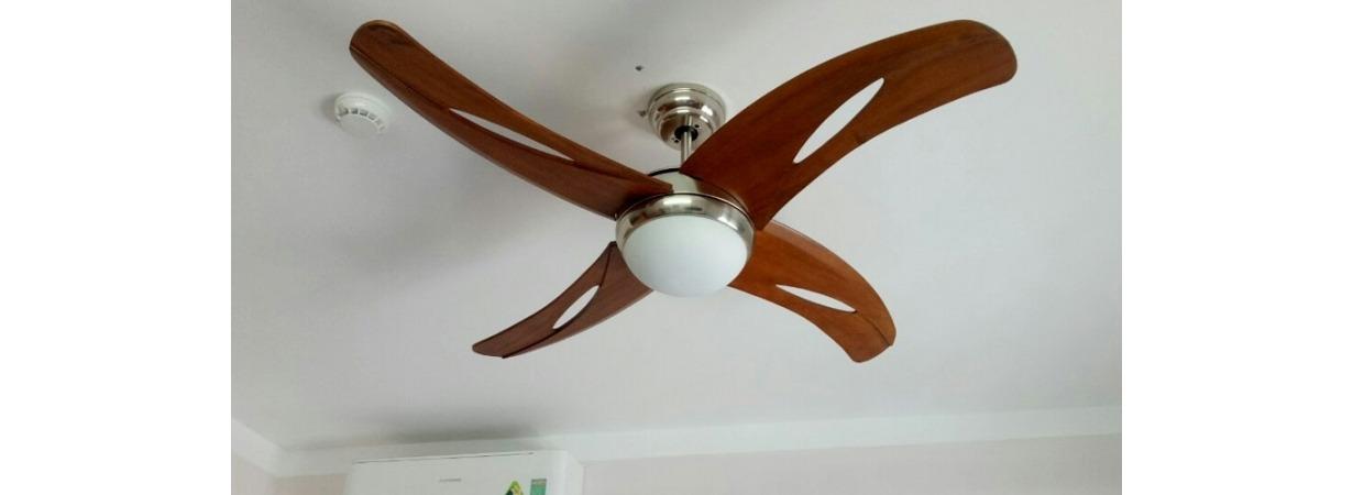 Kiểu dáng quạt trần hiện đại cánh gỗ 4 cánh dành cho nhà diện tích nhỏ